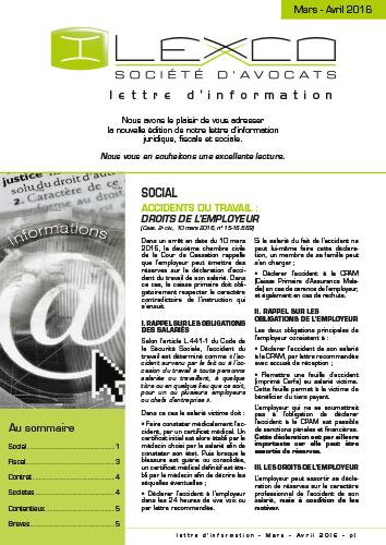 Lettre info Mars-Avril 2016