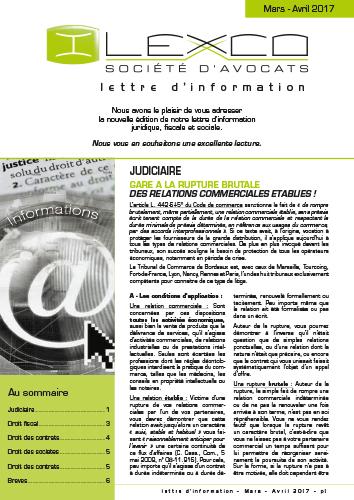 Lettre info Mars-Avril 2017