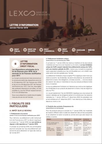 Lettre d'info LEXCO - Janv-Fev 2018