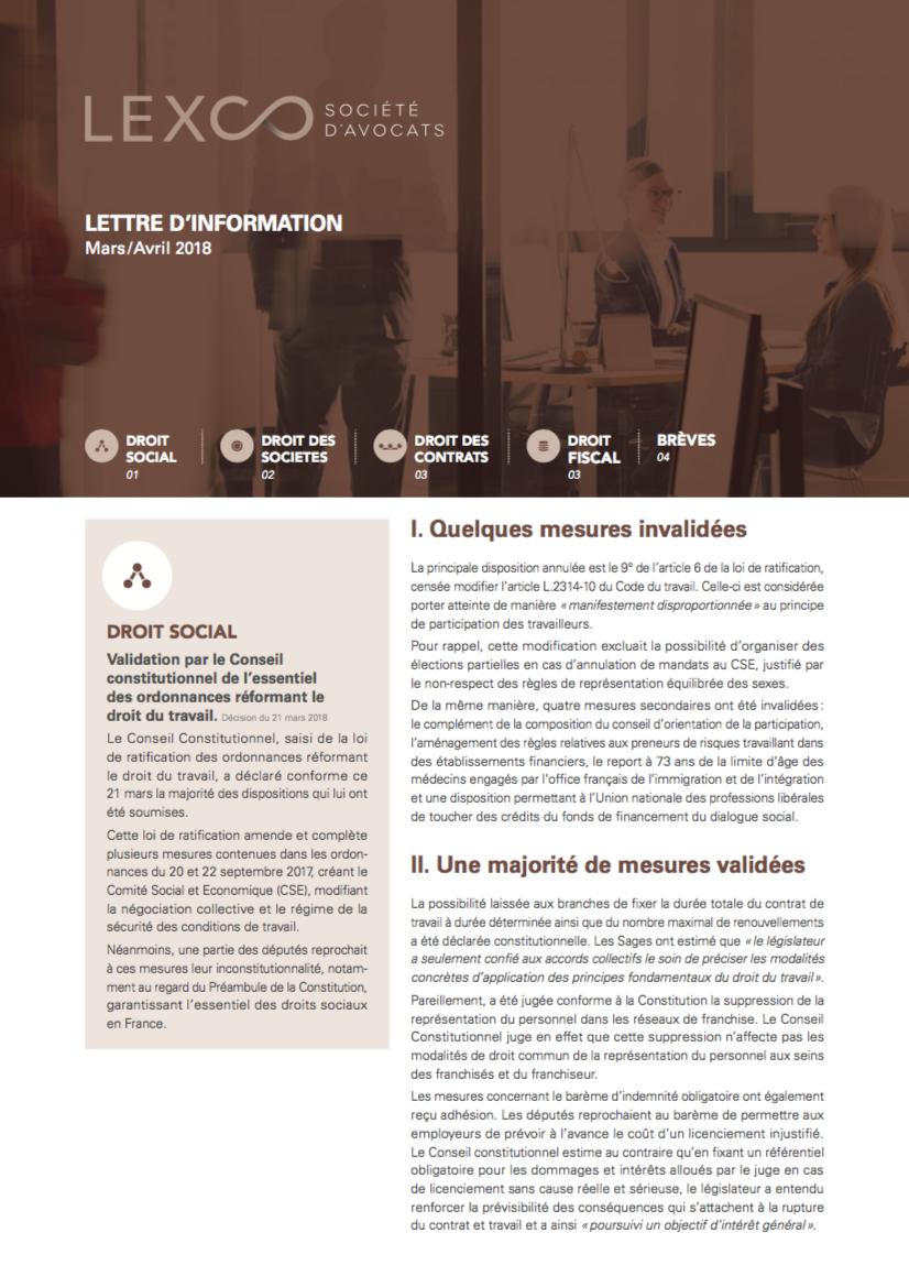 Lettre d'info LEXCO - Mars-Avril 2018