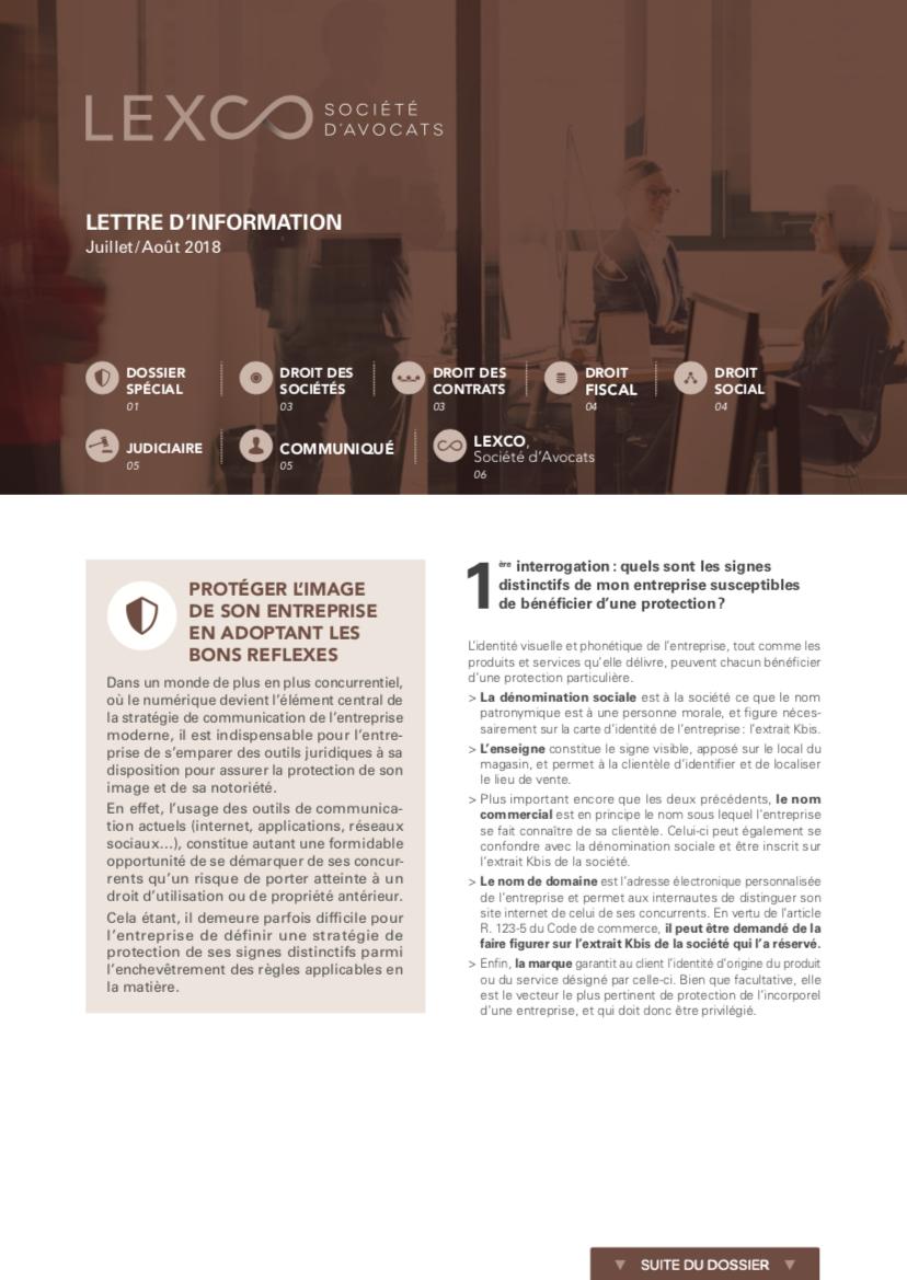 Lettre information Juillet Aout - LEXCO