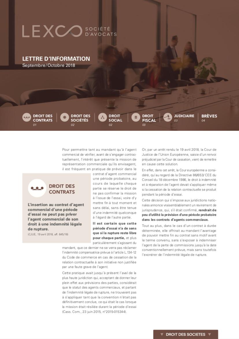 Lettre d'information LEXCO septembre octobre 2018