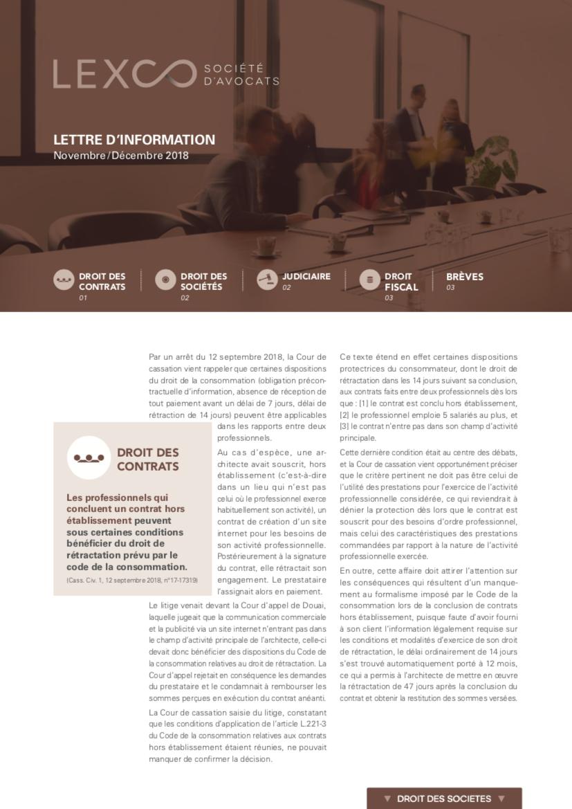 Lettre d'information LEXCO Novembre décembre 2018
