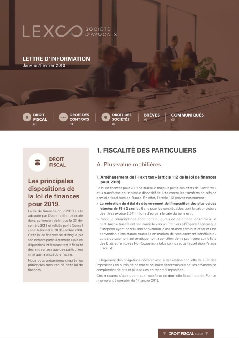 Lettre d'information LEXCO Janvier Fevrier 2019