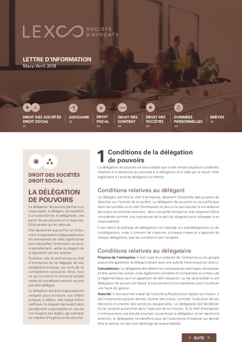 Lettre d'information LEXCO Mars Avril 2019