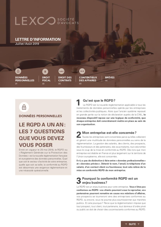 Lettre information LEXCO juillet aout 2019