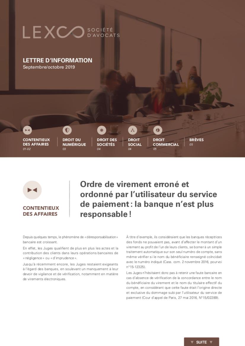 Lettre information LEXCO septembre octobre 2019