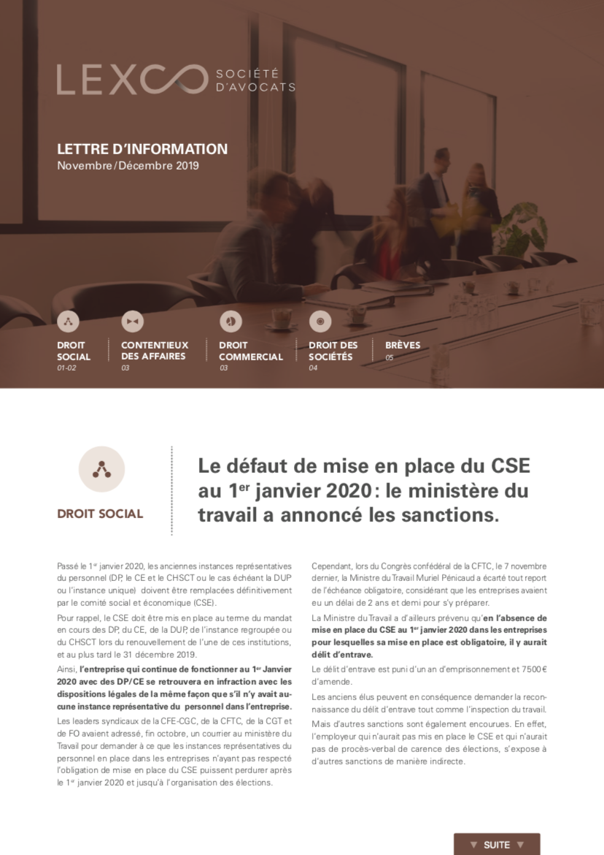 Lettre information LEXCO novembre décembre 2019